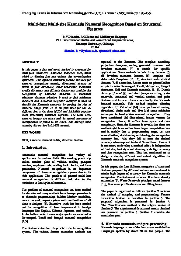 PDF) MULTI-FONT MULTI-SIZE KANNADA NUMERAL RECOGNITION BASED