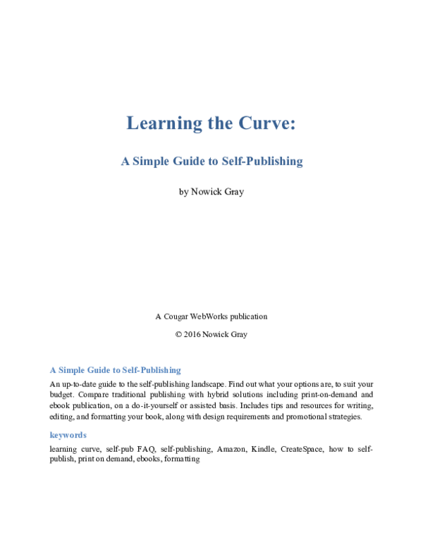 PDF) Learning the Curve: A Simple Guide to Self-Publishing