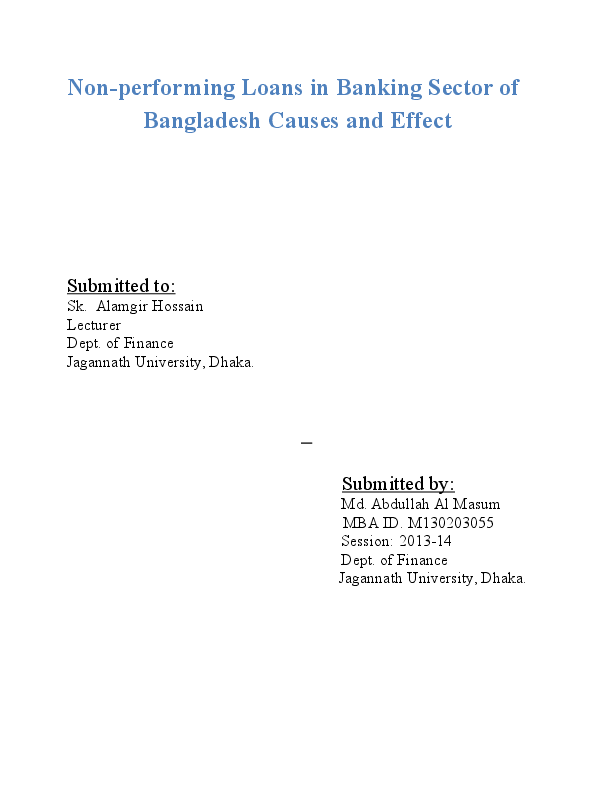 DOC) Non-performing Loans in Banking Sector of Bangladesh Causes and