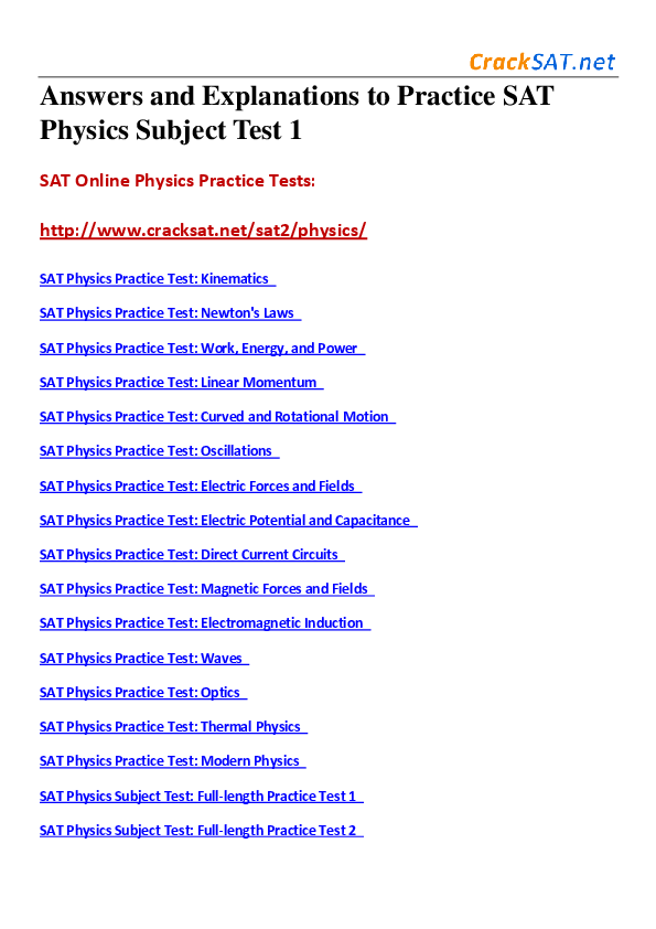 PDF) Answers and Explanations to Practice SAT Physics