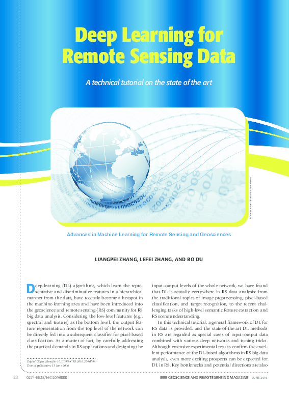 PDF) Deep Learning for Remote Sensing Data A technical