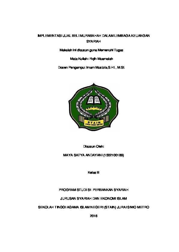Pdf Implementasi Jual Beli Murabahah Dalam Lembaga Keuangan Syariah Maya Satya Andayani Academia Edu