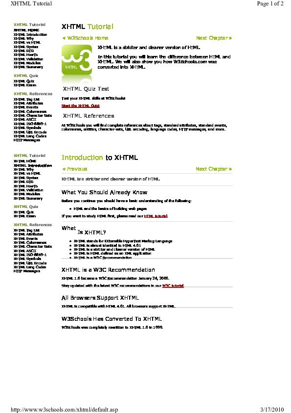 PDF) XHTML Quiz XHTML References XHTML Tag List XHTML