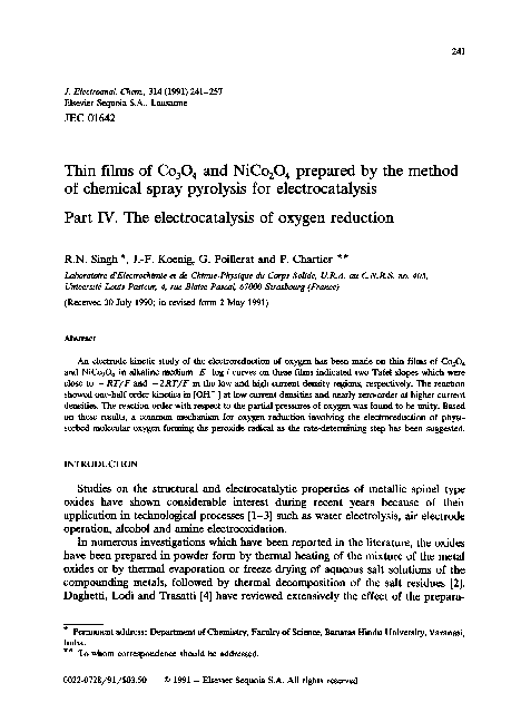 PDF) Thin films of CO3O4 and NiCo2O4 prepared by the method of