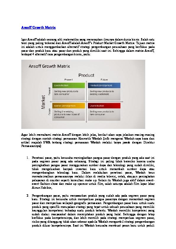 Ansoff Matriks Empat Kuadran dan Contoh