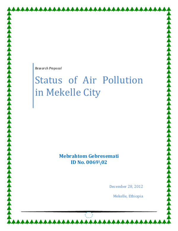 PDF) [Research Proposal] Status of Air Pollution in Mekelle