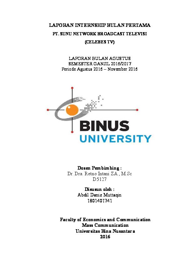 Doc Laporan Internship Bulan Pertama Pt Sunu Network Broadcast Televisi Celebes Tv Abdil Danis Academia Edu