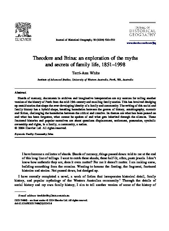 Pdf Theodore And Brina An Exploration Of The Myths And Secrets Of Family Life 1851 1998 Terri Ann White Academia Edu