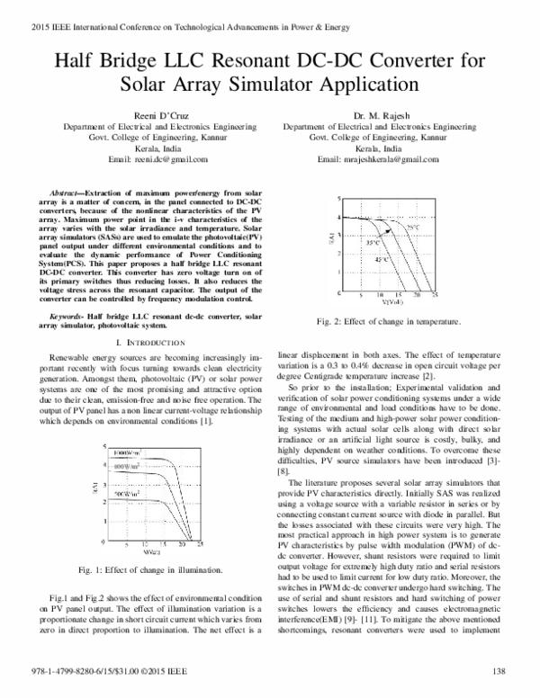 PDF) Half Bridge LLC Resonant DC-DC Converter for Solar Array