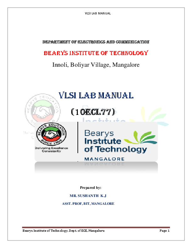 PDF) VTU 7th sem ECE VLSI LAB MANUAL VLSI Lab manual (10ECL770 pdf