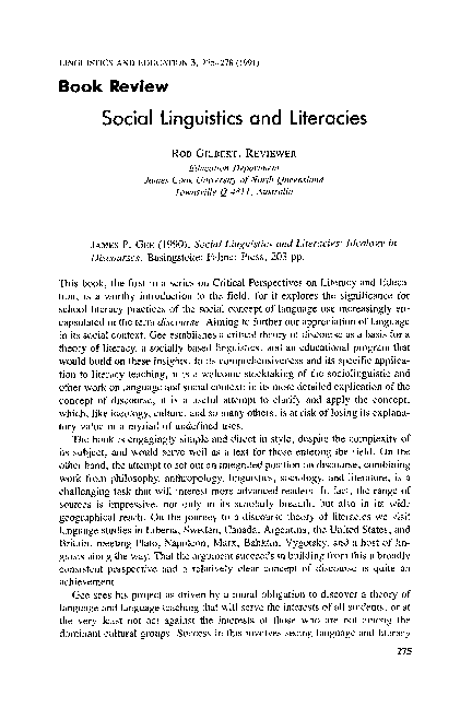 Pdf Social Linguistics And Literacies Ideology In