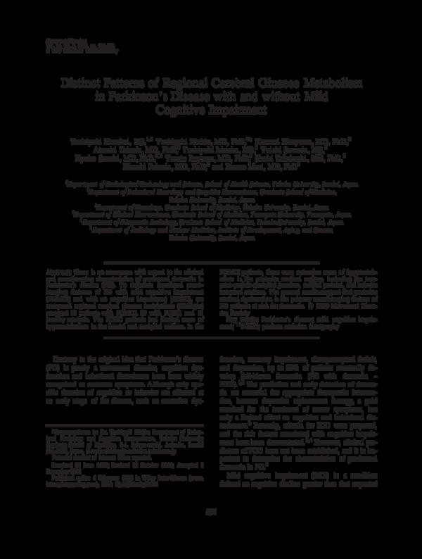 PDF) Distinct patterns of regional cerebral glucose metabolism in