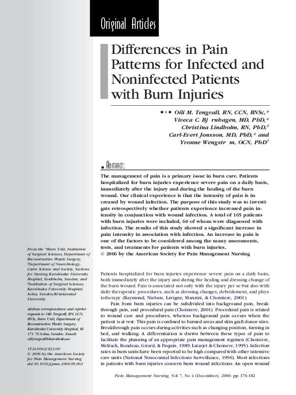 PDF) Differences in Pain Patterns for Infected and