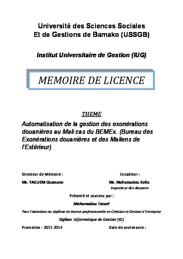 Pdf Mémoire De Licence Traore Mahamadou Academia Edu