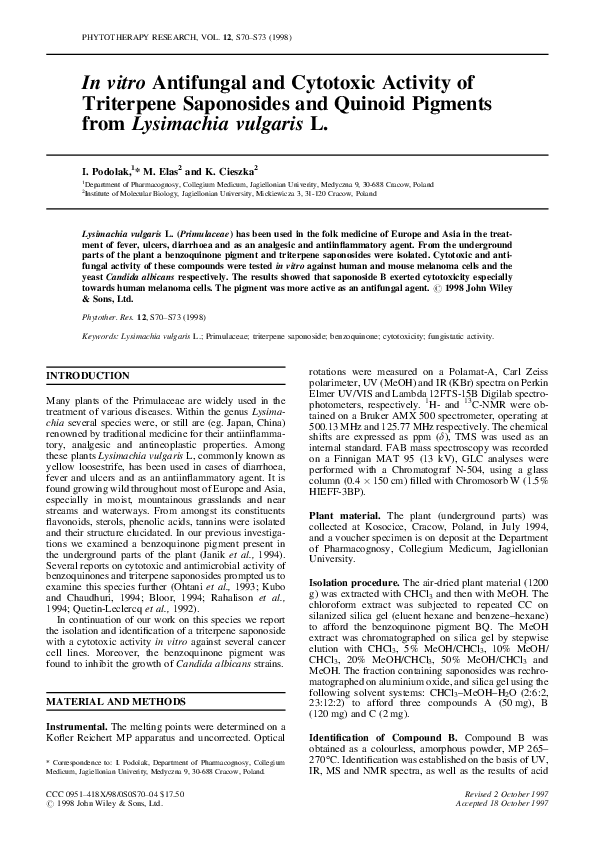 PDF) In vitro antifungal and cytotoxic activity of