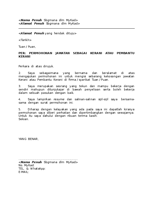 contoh cover letter untuk jawatan pembantu tadbir