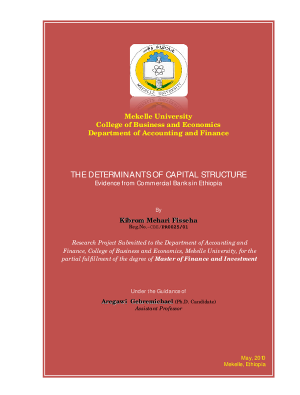 PDF) THE DETERMINANTS OF CAPITAL STRUCTURE Evidence from