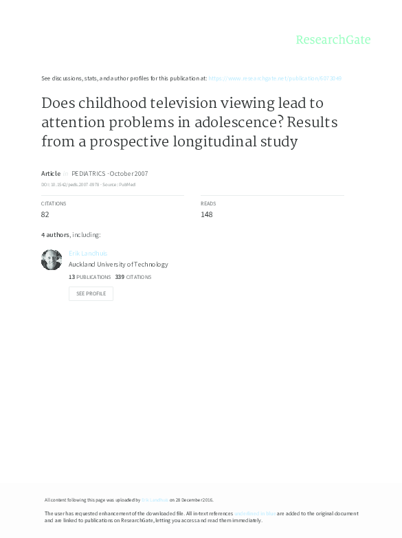 PDF) Does childhood television viewing lead to attention problems in