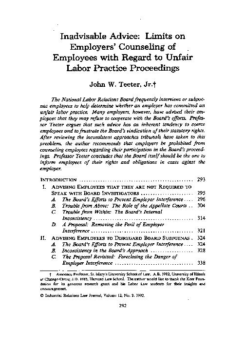 unfair labor practices term paper