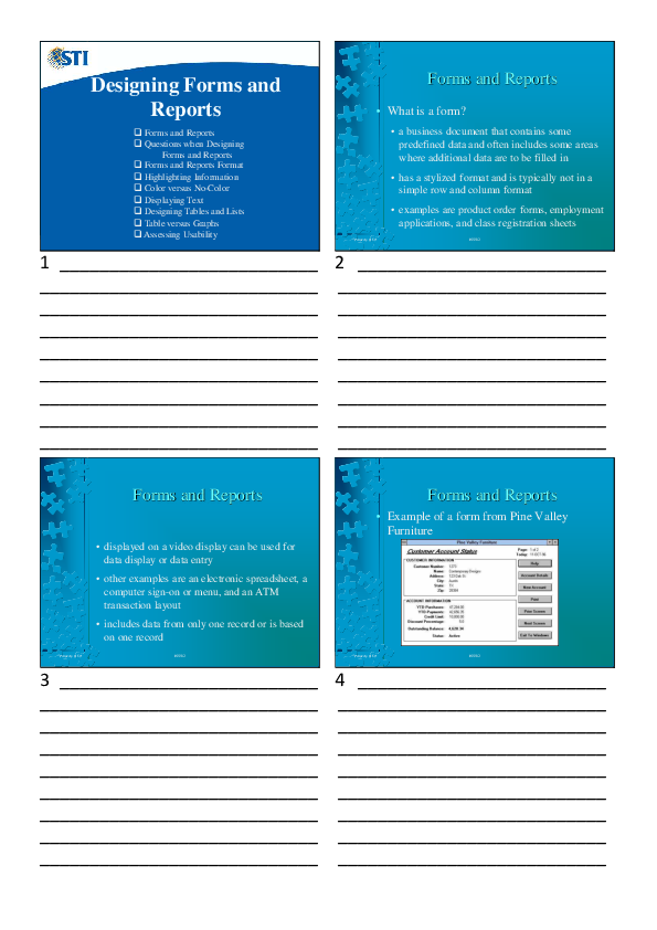 PDF) Designing Forms and Reports Forms and Reports | JC de Luna