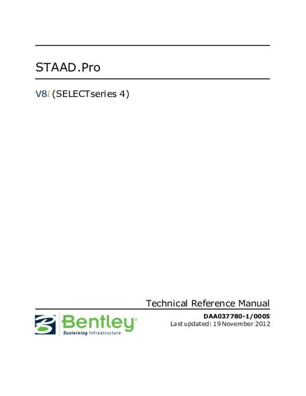 PDF) STAAD Pro V8i (SELECTseries 4) Technical Reference Manual | yue