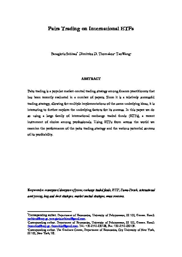 PDF) Pairs Trading on International ETFs   Dimitrios