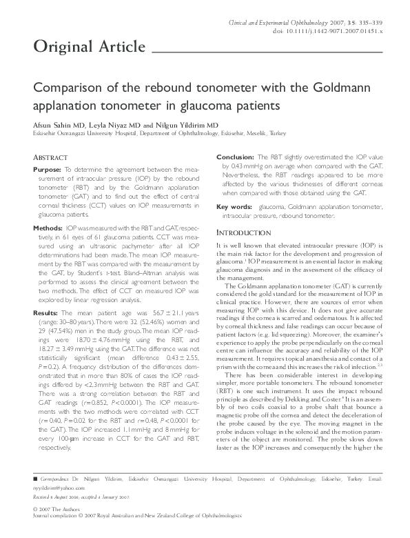 PDF) Comparison of the rebound tonometer with the Goldmann