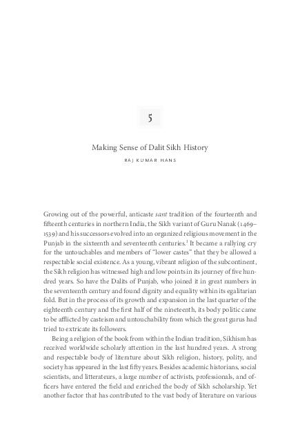 PDF) Making Sense of Dalit Sikh History | Rajkumar Hans