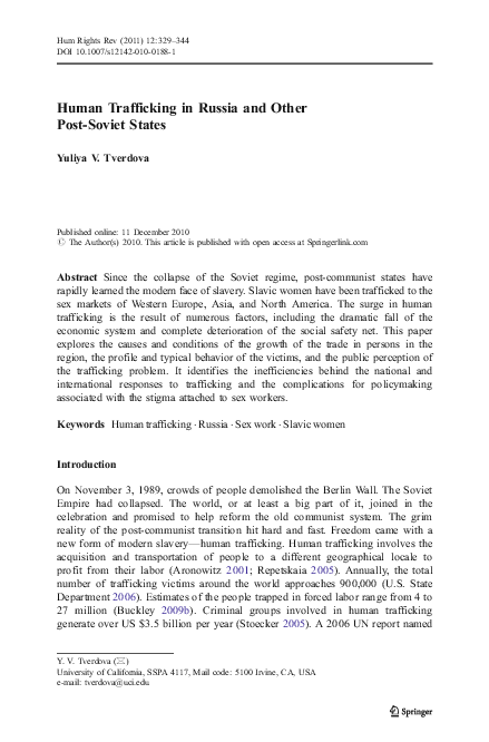 Human trafficking in russia research paper it management resume sample