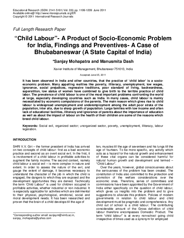"PDF) ""Child Labour""-A Product of Socio-Economic Problem for"