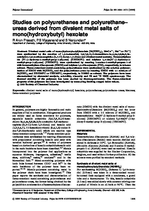 PDF) Studies on polyurethanes and polyurethane–ureas derived from