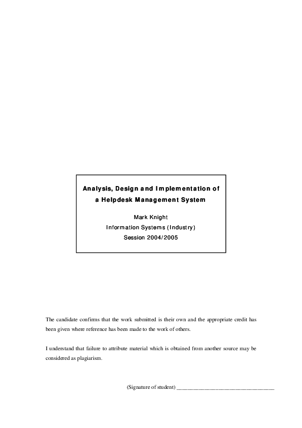 Pdf Analysis Design And Implementation Of A Helpdesk Management System Michael Kassahun Academia Edu