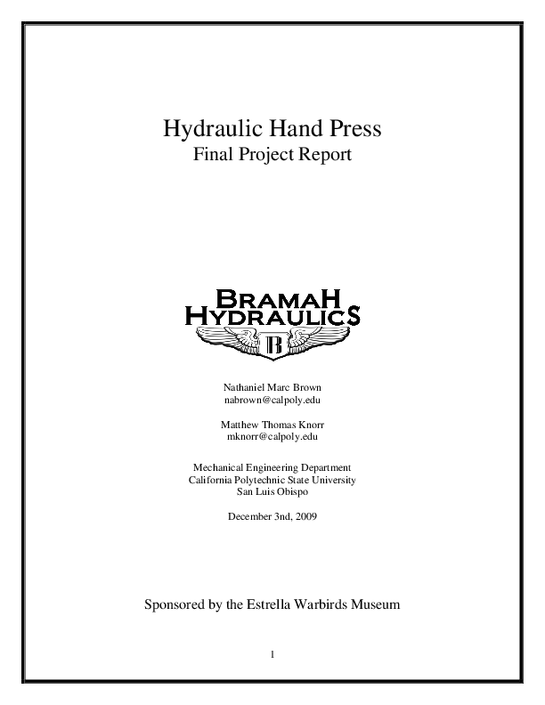 PDF) Hydraulic Hand Press Final Project Report Sponsored by