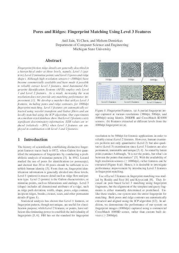 PDF) Pores and Ridges: Fingerprint Matching Using Level 3
