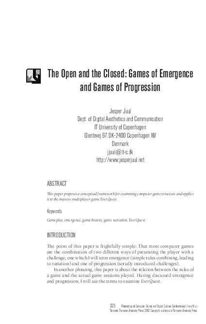 PDF) The open and the closed: Games of emergence and games