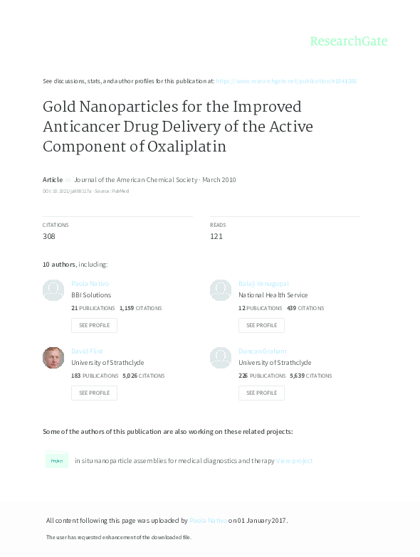 PDF) Gold nanoparticles for the improved anticancer drug delivery of