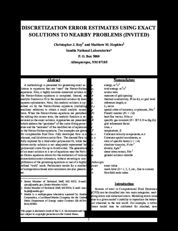 PDF) Discretization error estimates using exact solutions to nearby