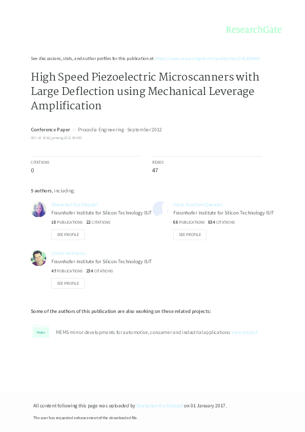 PDF) High Speed Piezoelectric Microscanners with Large