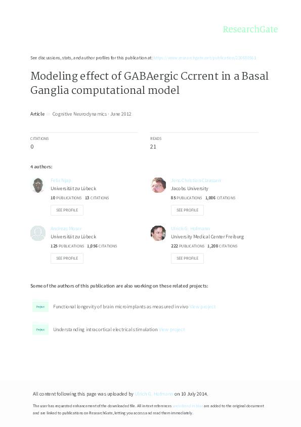 PDF) Modeling effect of GABAergic Ccrrent in a Basal Ganglia