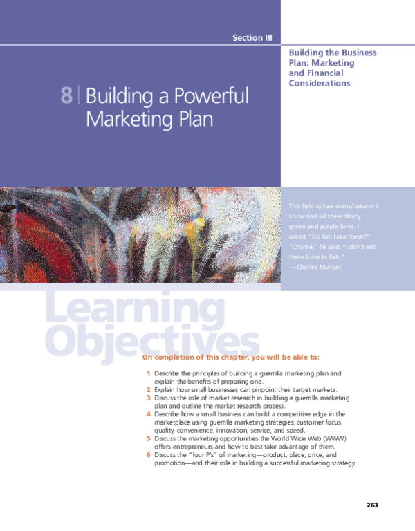 Pdf Section Iii Building The Business Plan Marketing And Financial Considerations 8 Building A Powerful Marketing Plan Wajeeh Rehman Academia Edu