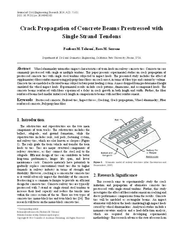 PDF) Crack Propagation of Concrete Beams Prestressed with