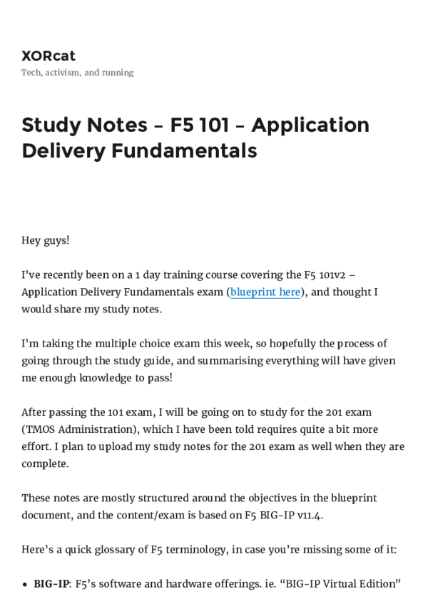PDF) Study Notes – F5 101 – Application Delivery Fundamentals