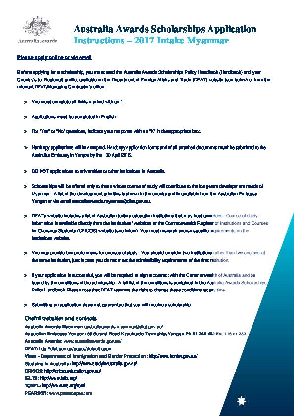 PDF) Australia Awards Scholarships Application Instructions