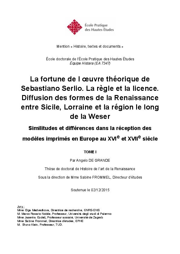 La Fortune De Loeuvre Théorique De Sebastiano Serlio La Règle Et