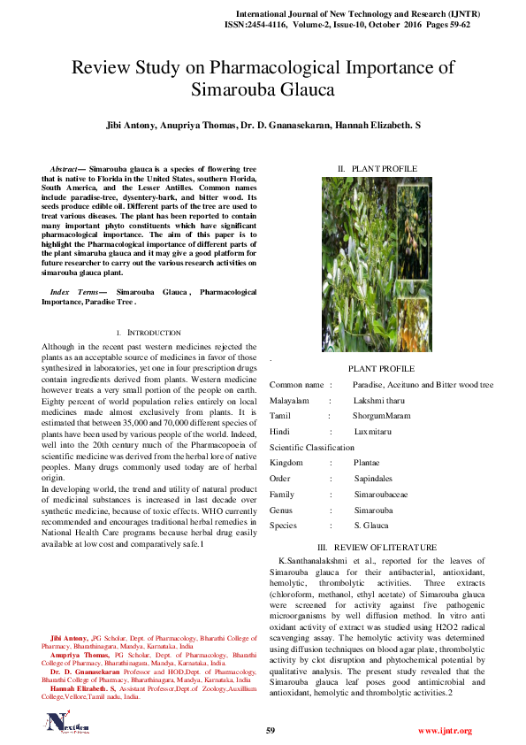 PDF) Review Study on Pharmacological Importance of Simarouba