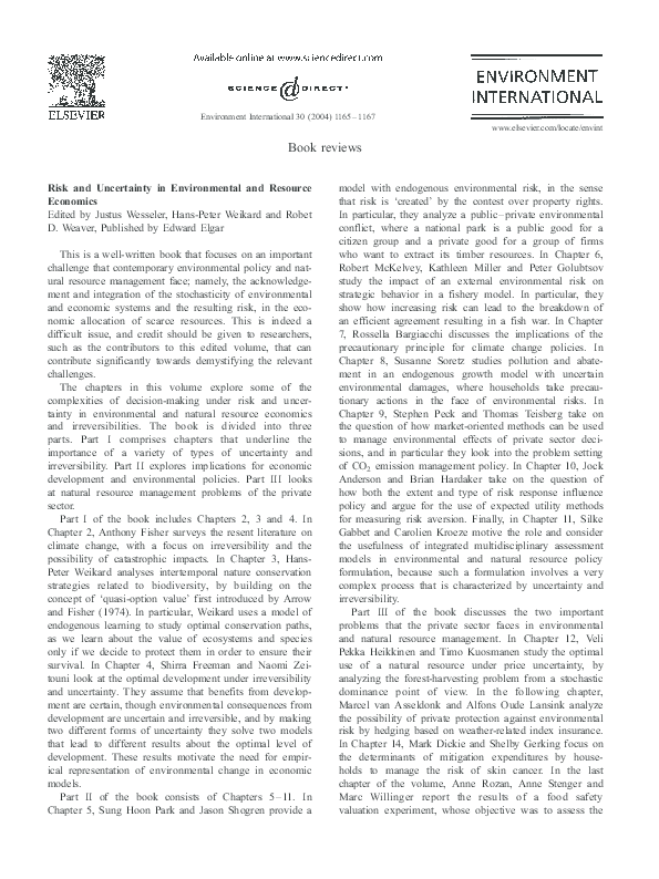 PDF) Risk and uncertainty in environmental and resource