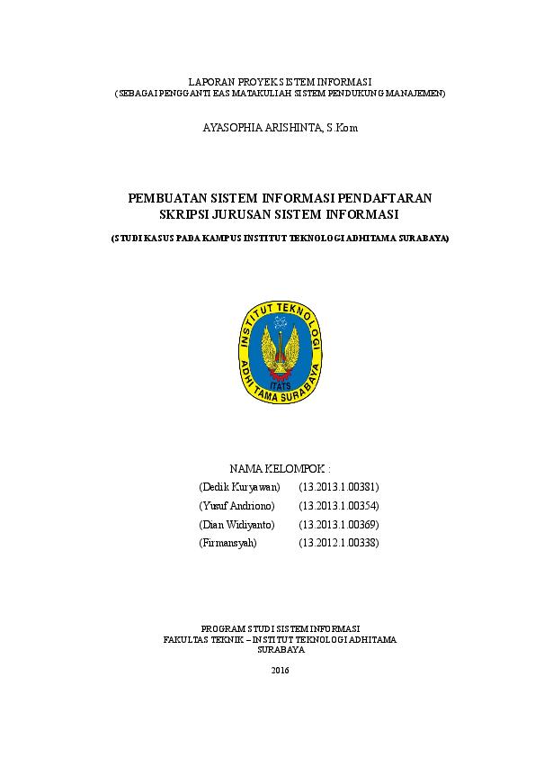 Doc Dedik Laporan Sistem Informasi Skripsi Rev Rhamdani Widyo Utomo Academia Edu
