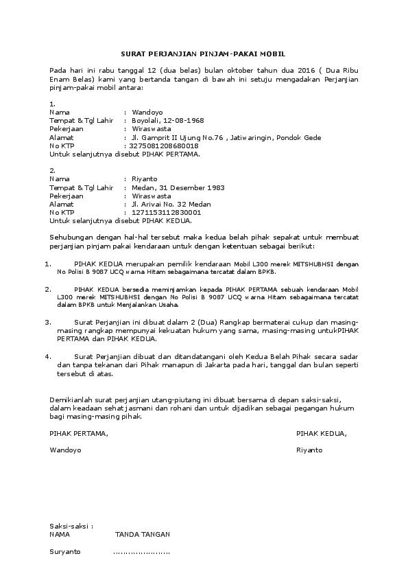 Doc Surat Perjanjian Pemakaian Mobil Retrosuper Sport