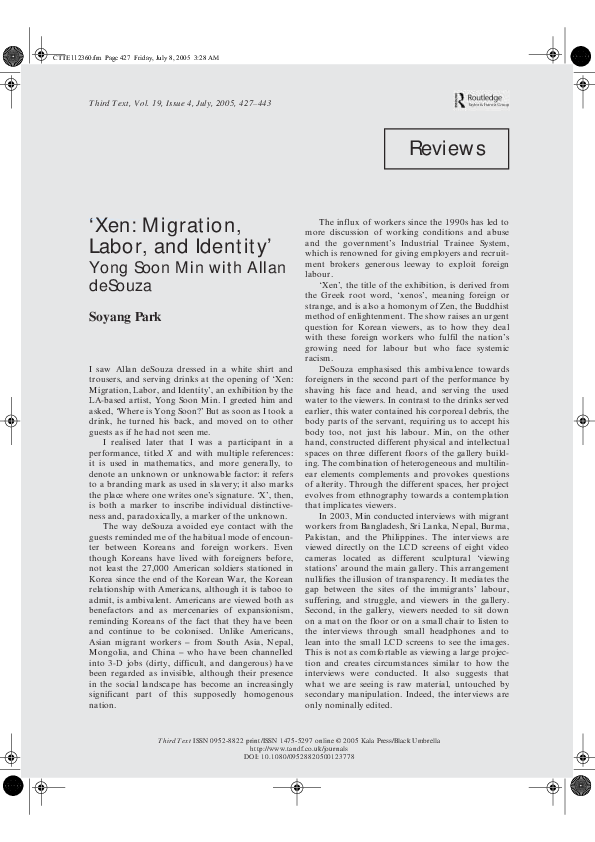PDF) Xen: Migration, labour and Identity': Yongsoon Min with
