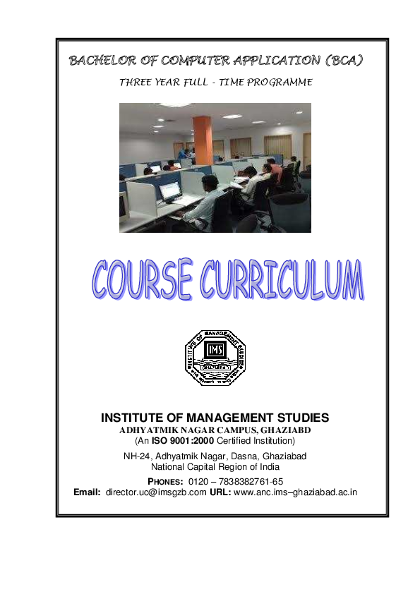 PDF) BACHELOR OF COMPUTER APPLICATION (BCA) INSTITUTE OF MANAGEMENT